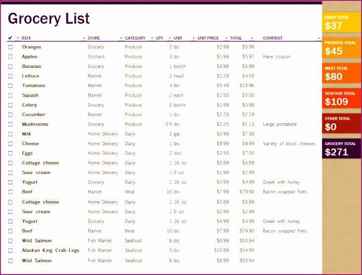 6 excel grocery list 731555