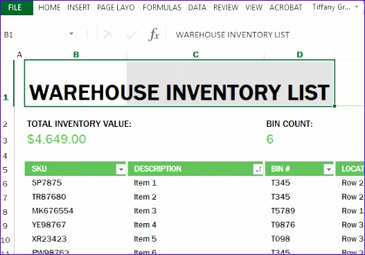 warehouse inventory excel template 527368