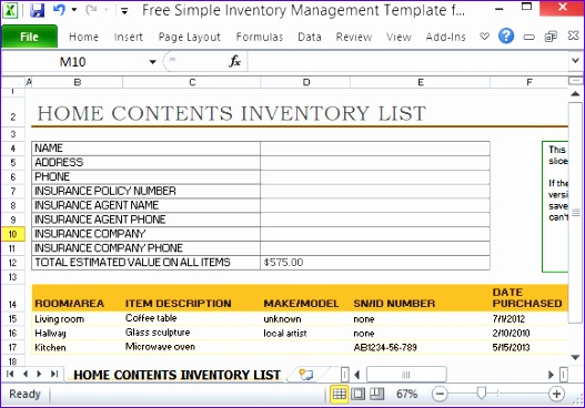 free simple inventory management template excel