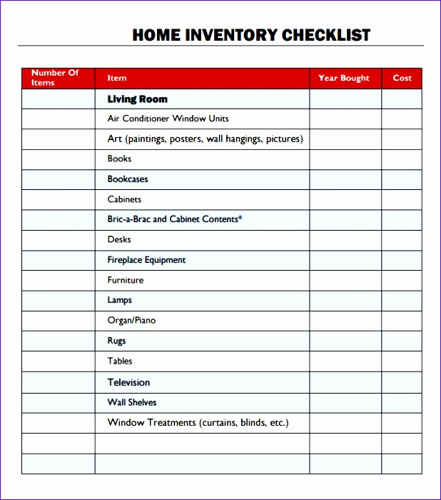 furniture inventory spreadsheet