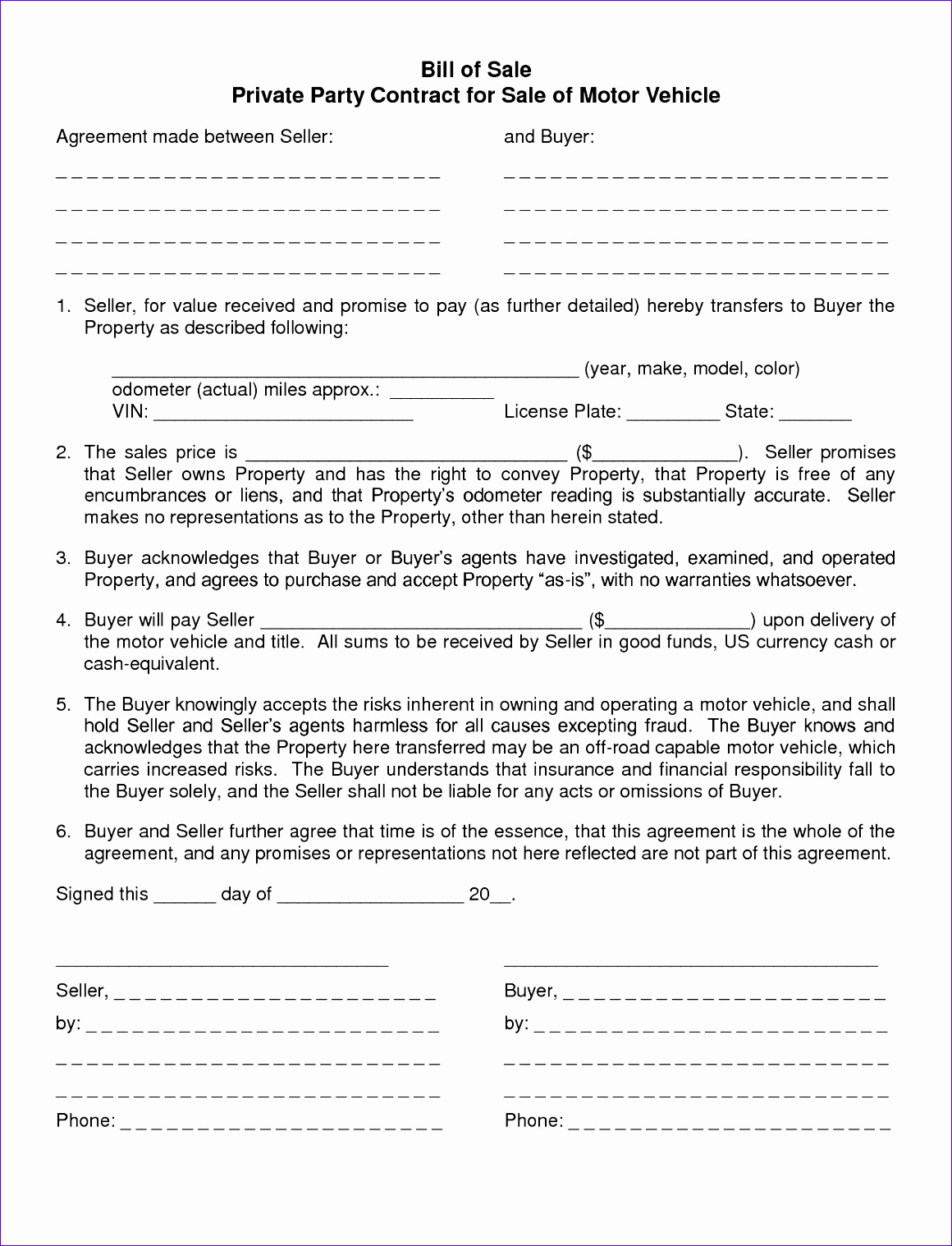 agreement template and bill of sale form for selling private vehicle 11601518