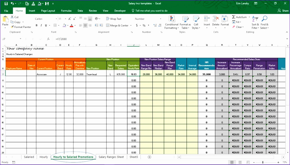 salary increase template excel pensation metrics calculations 1164662