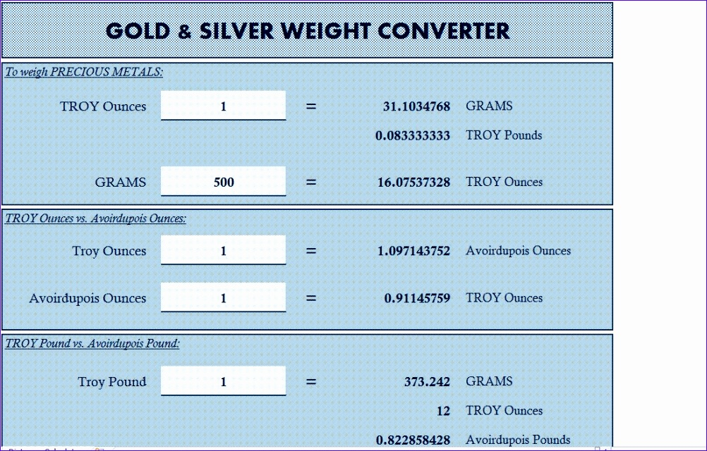 gold silver weight converter
