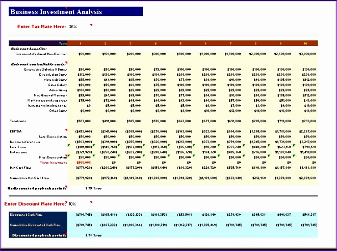 business investment analysis excel template 661491