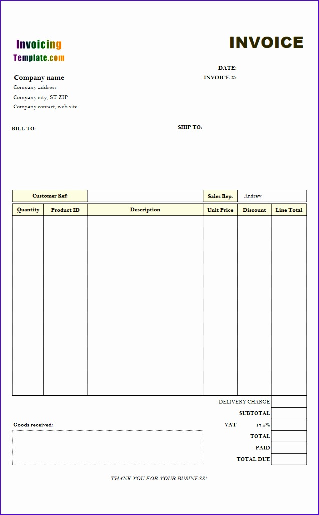 excel invoice template 2007