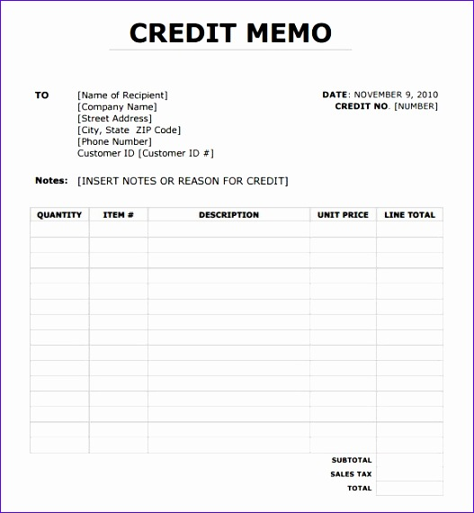 post credit memo sample format 527570