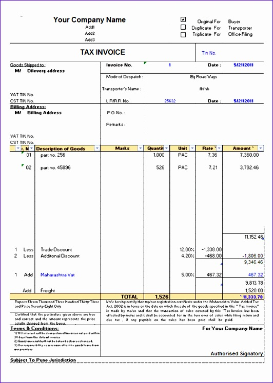 tax invoice template free 2912 532748