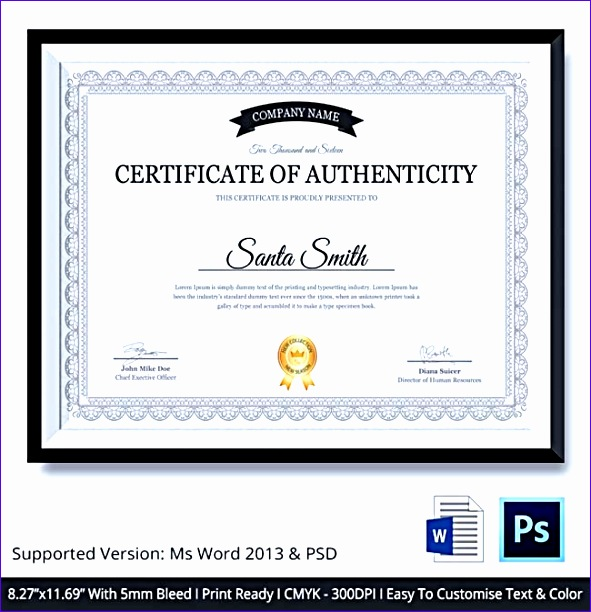 certificate of authenticity template 591612