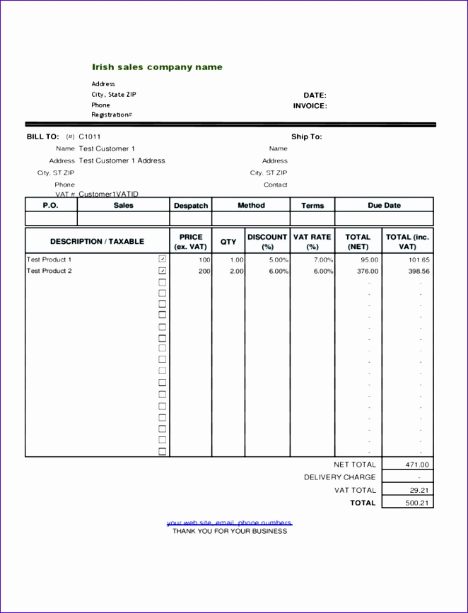 free irish sales vat invoice template
