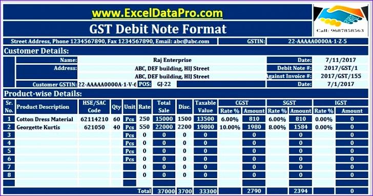 gst debit note format 728384