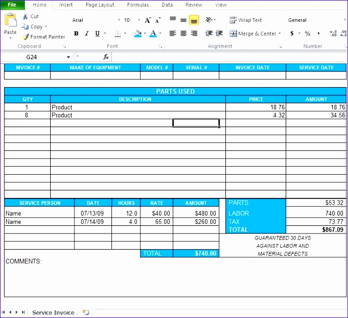 professional service invoice template excel 687628