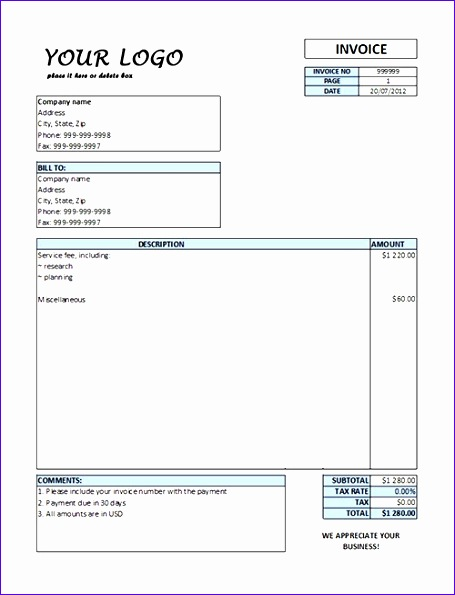 service invoice template word free 3372 455595
