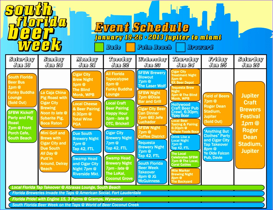 7 schedule of events template