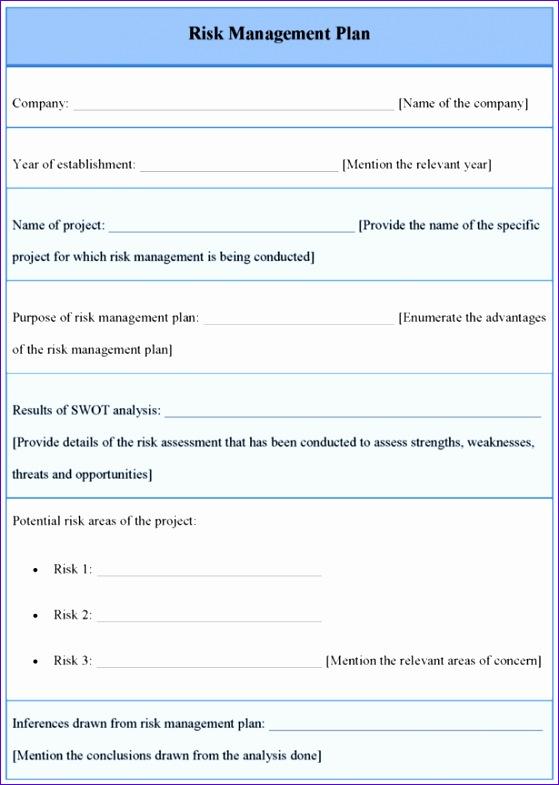 risk management plan template 559785