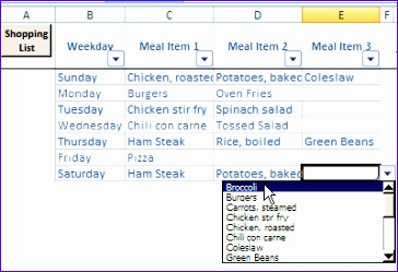 excel weekly meal planner with recipe selector 364249