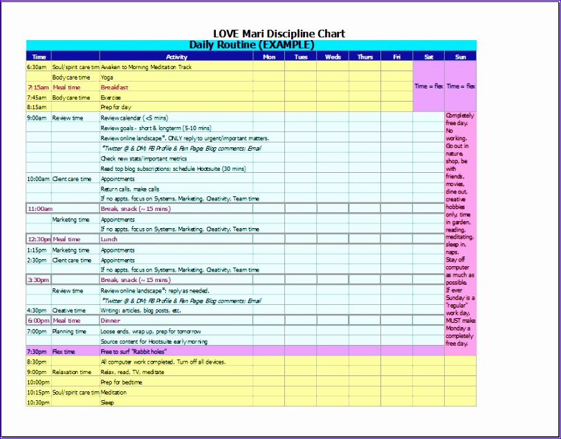 26 daily schedule template for work sheet 811635