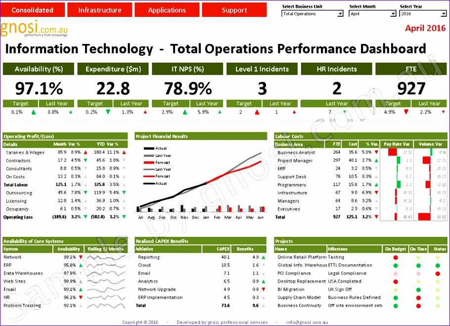 it cio department systems project performance dashboard australia