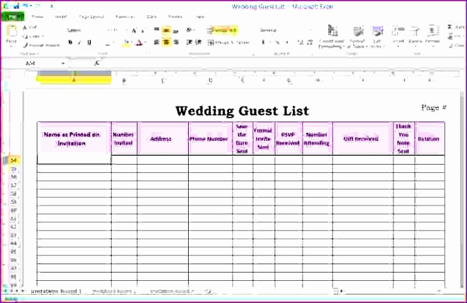 6 wedding guest list template excel 673438