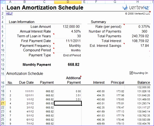 mortgage spreadsheet amortization excel