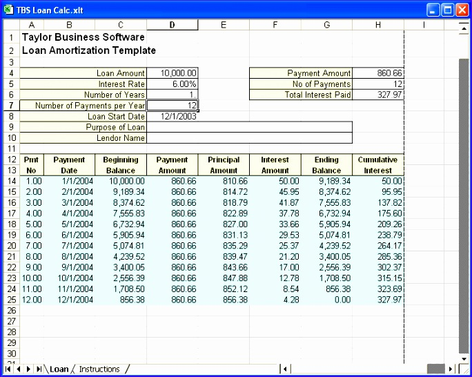 9 excel loan amortization template exceltemplates for Amortization formula excel template