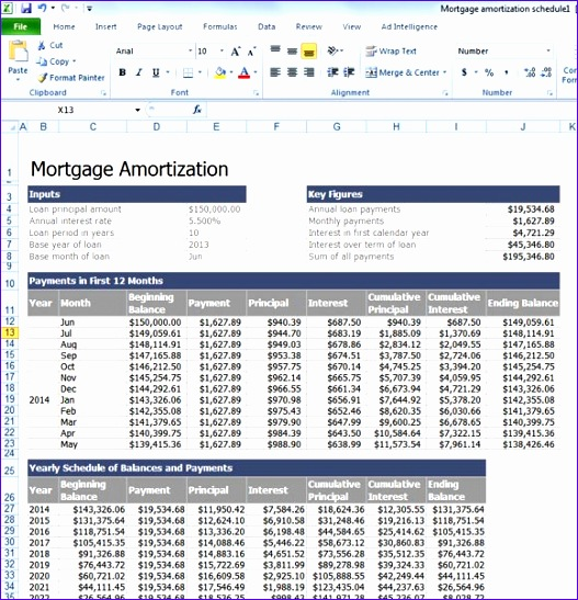 calculate mortgage loan amortization with an excel template 527547