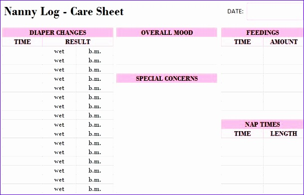 printable nanny log template 609391