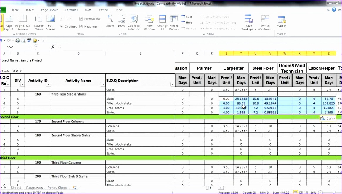 Excel Manpower Planning Template Ehzjk New 7 3 Prepare Project Resources In Excel Part 3 1280720