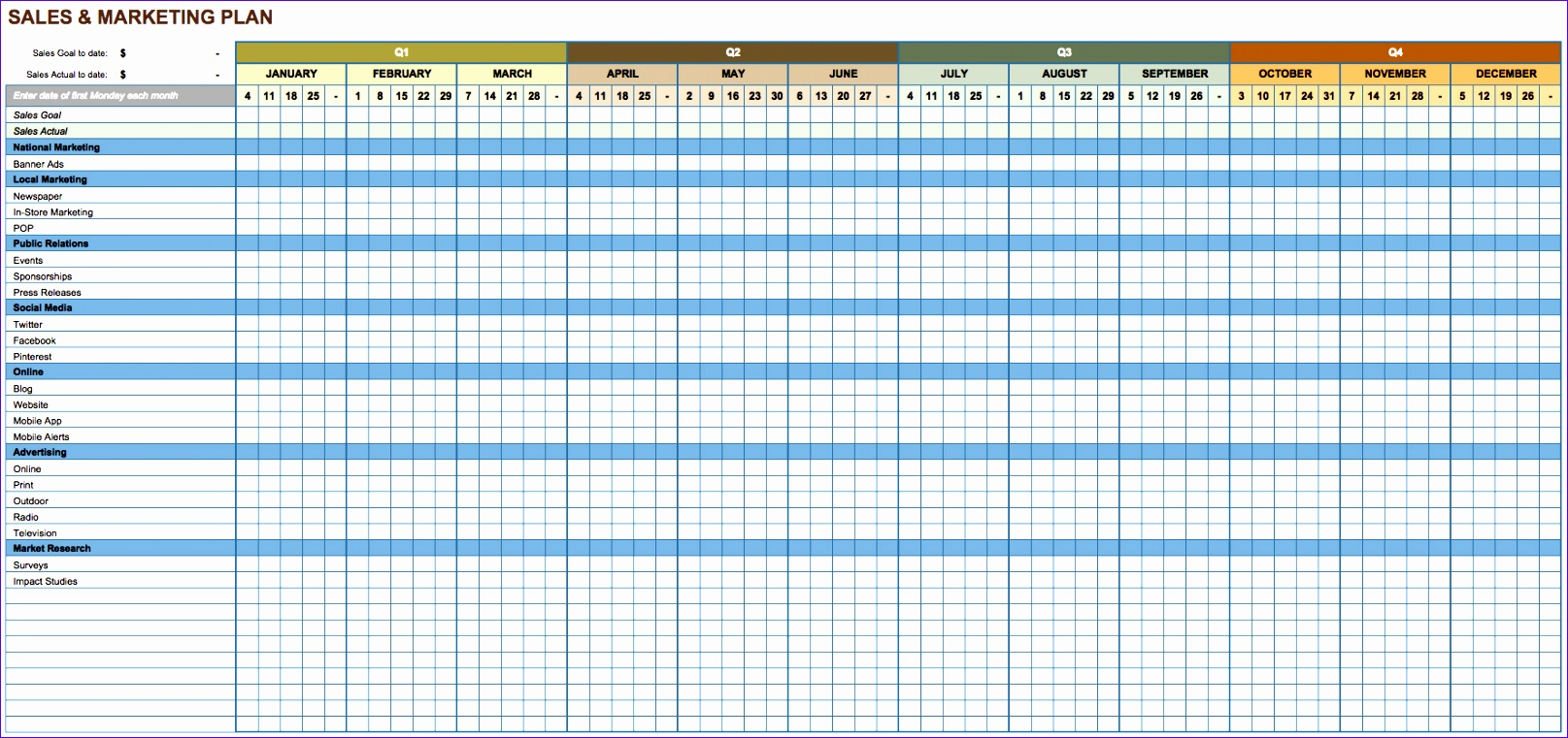 marketing action plan template excel 1615761