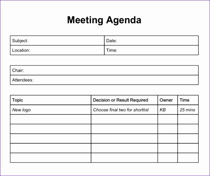 excel meeting agenda template 2