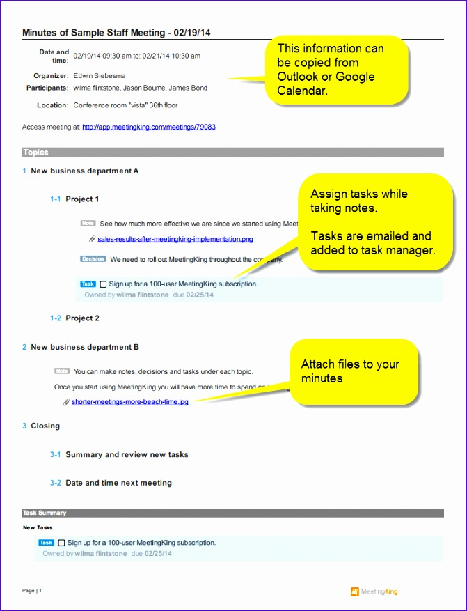 sample staff meeting minutes template 2 671877