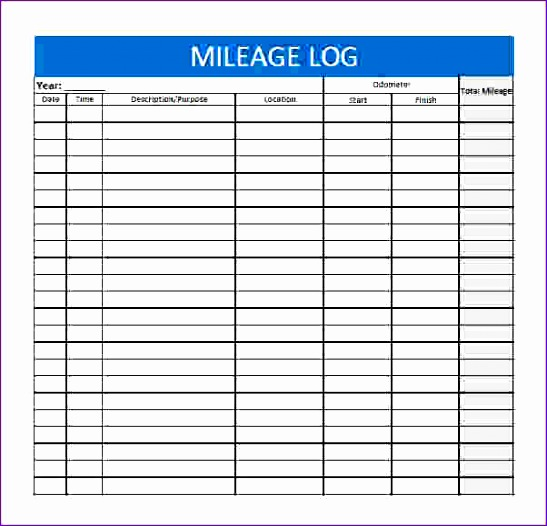 8 excel mileage log template - exceltemplates