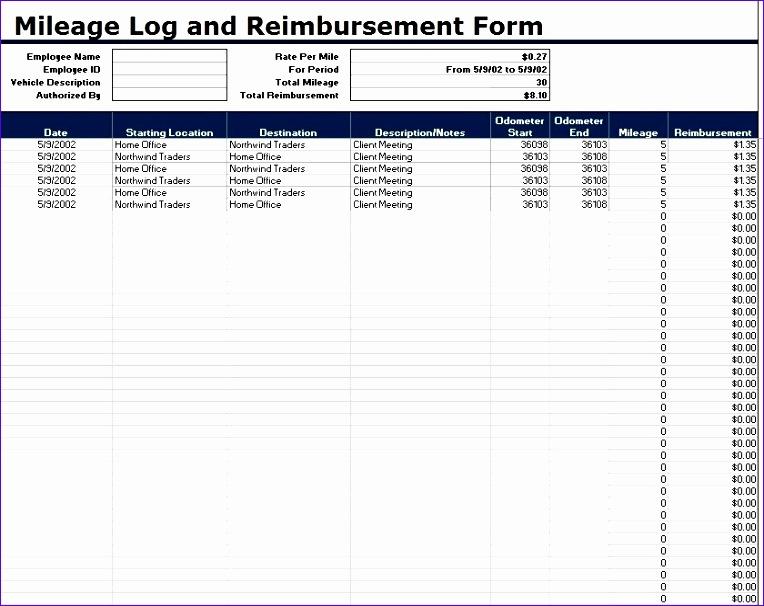 mileage log templates 764606