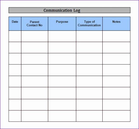 munication log template 546506