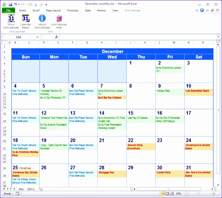Excel Monthly Calendar Templates