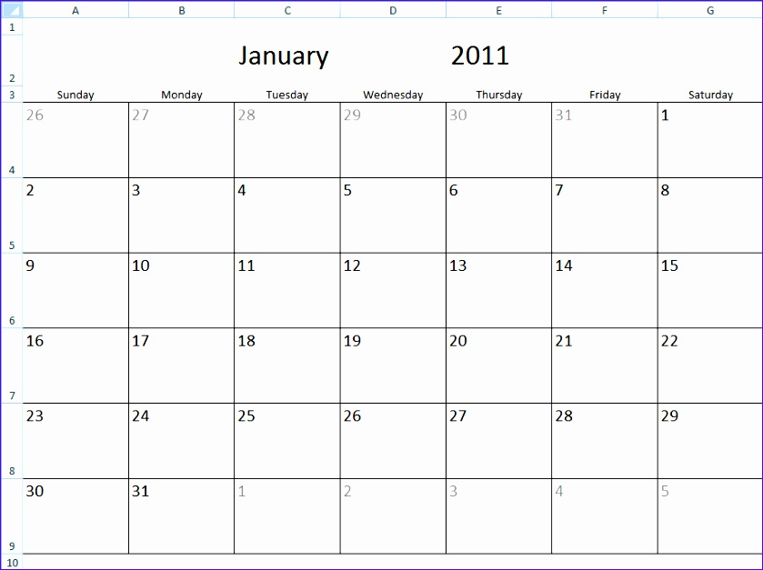 monthly calendar template in excel 839627