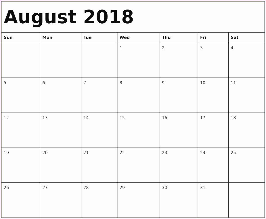 august 2018 printable calendar 2959 925760