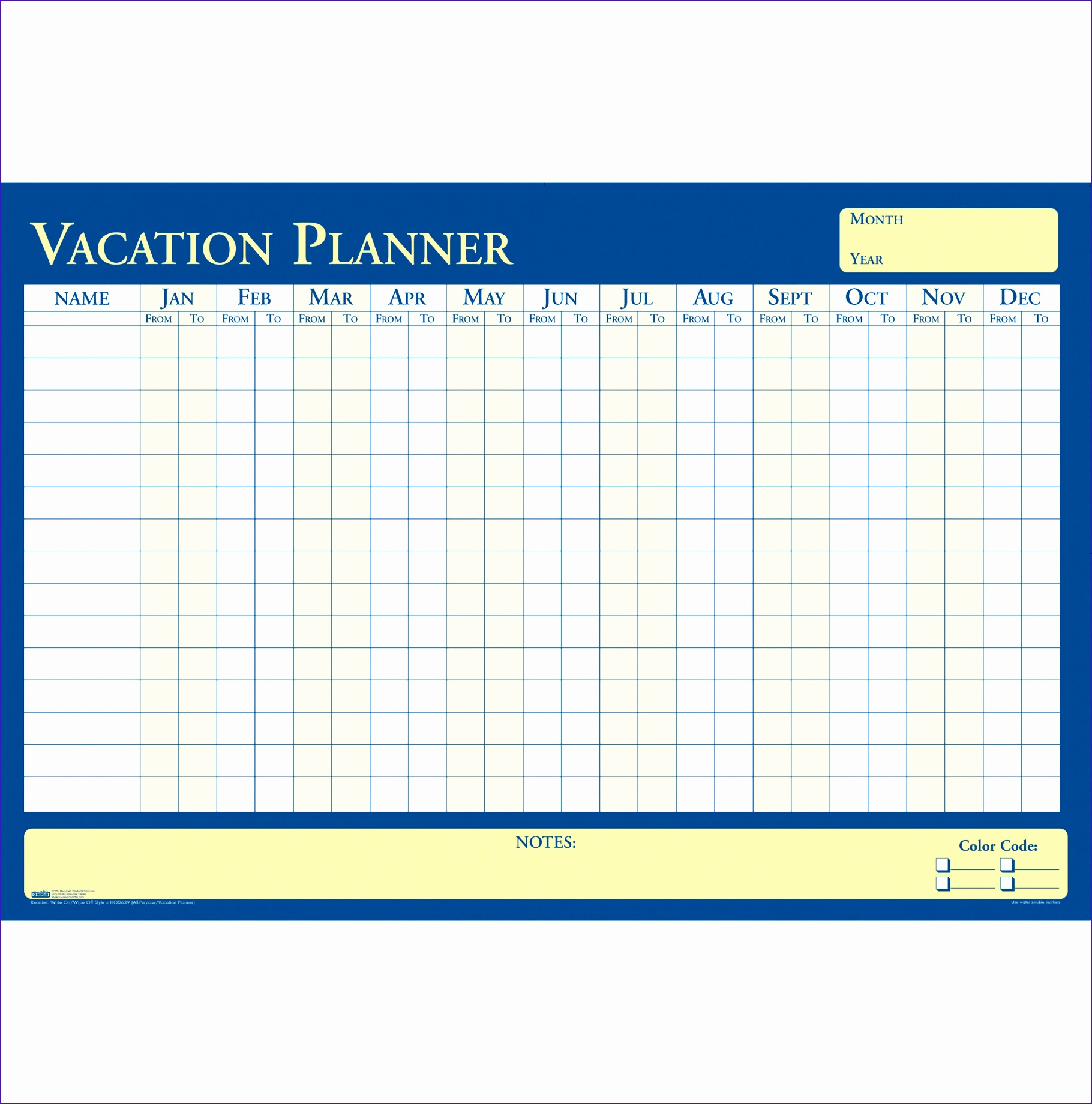 HOD639 House of Doolittle 639 All Purpose Laminated Vacation Planner 18201840
