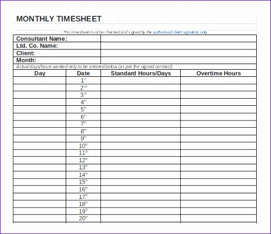 overtime log template - 6 excel monthly timesheet template exceltemplates