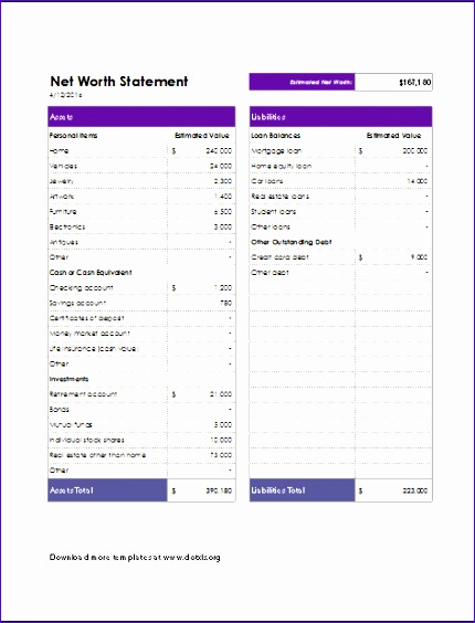 net worth statement worksheet 430564