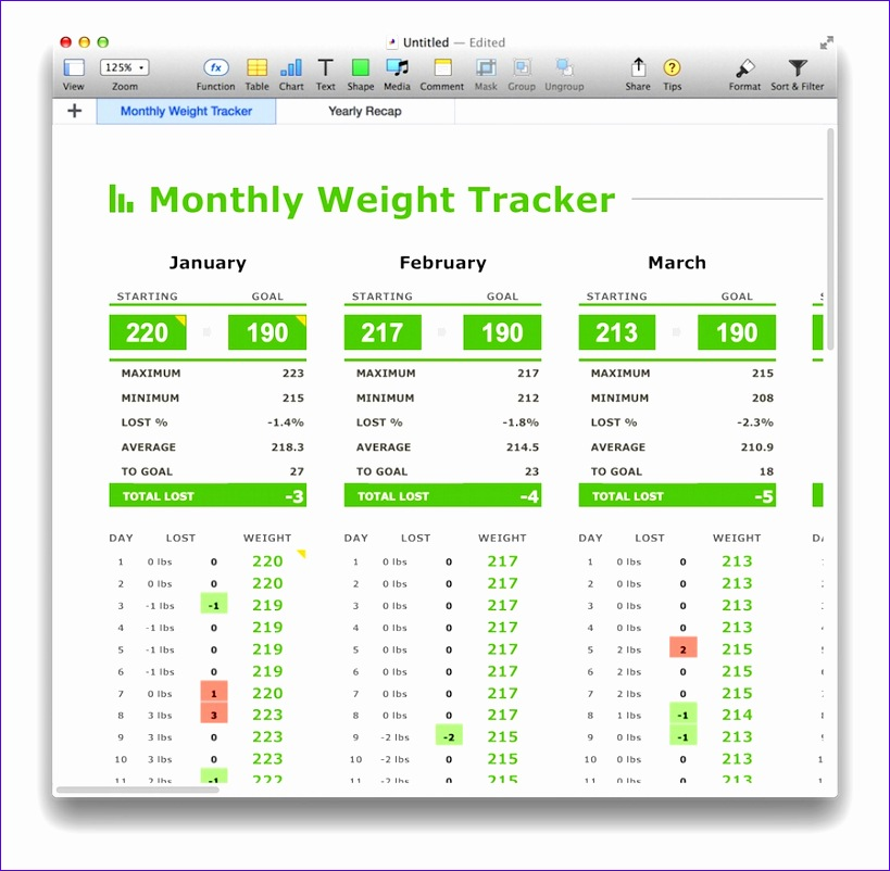 monthly weight tracker template