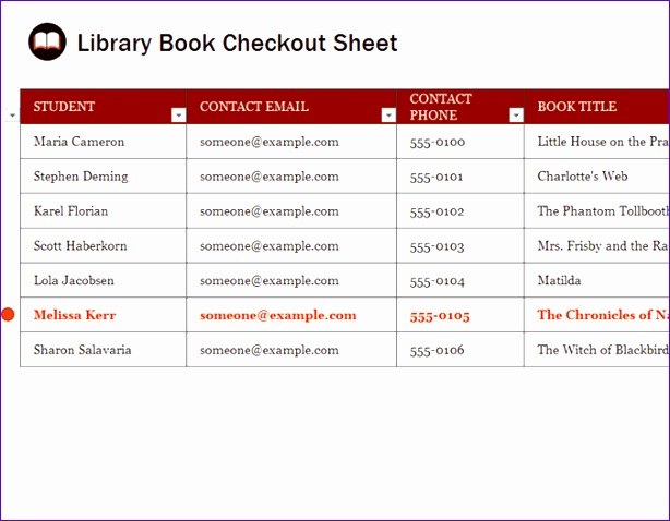 Library book checkout sheet TM 614478