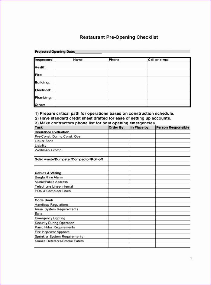 restaurant checklist template