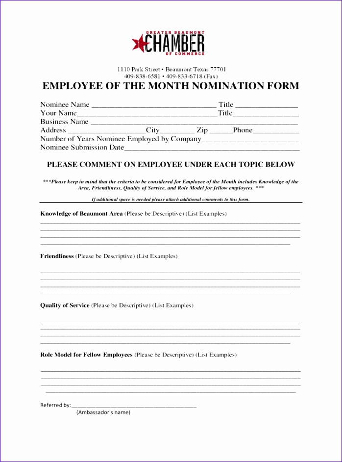 employee of the month nomination form