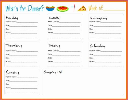 5 weekly dinner menu template