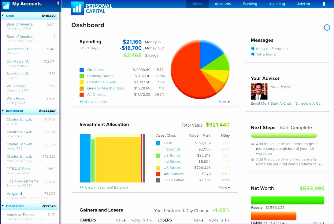 personal capital web based financial management tool
