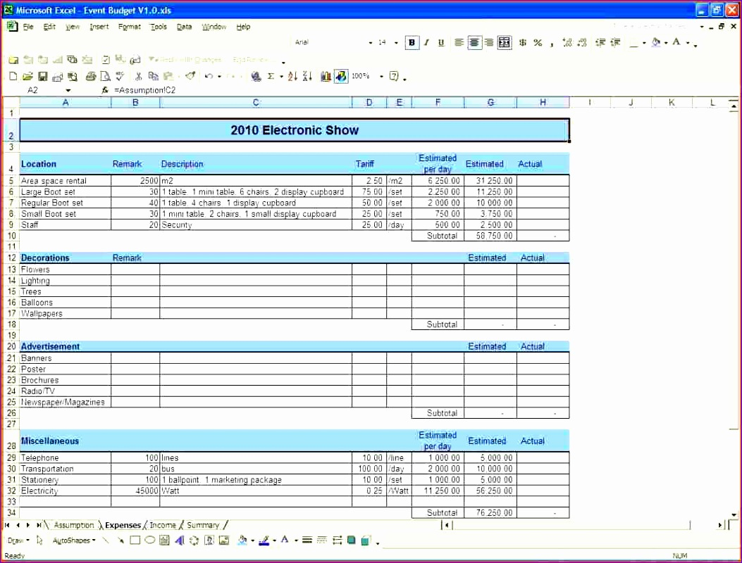 event bud worksheet