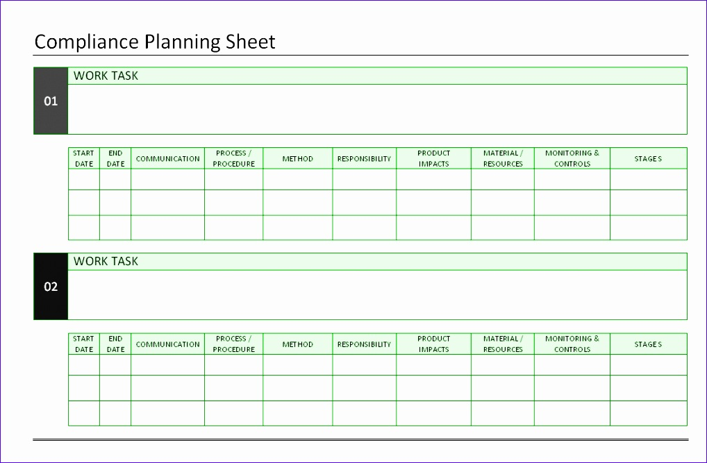 pliance planning sheet 1018667