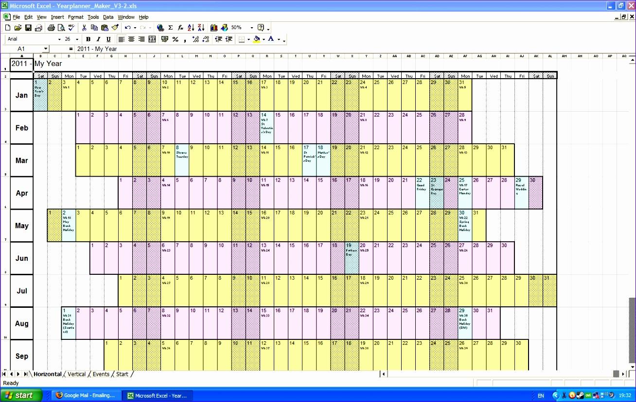 annual calendar template planning