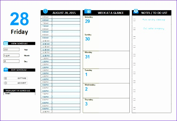 daily planner template 591405