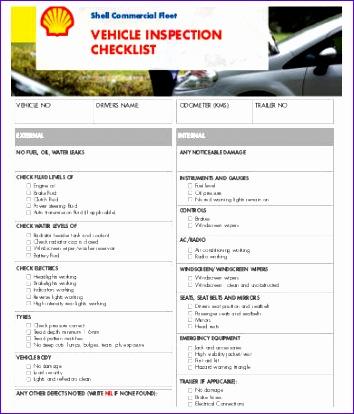 vehicle checklist template 354414